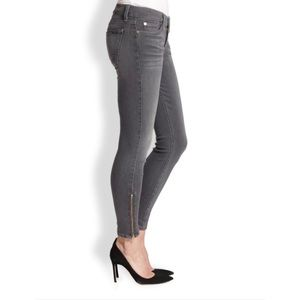 7 For All Mankind Gray Ankle Zipper Skinny Jeans